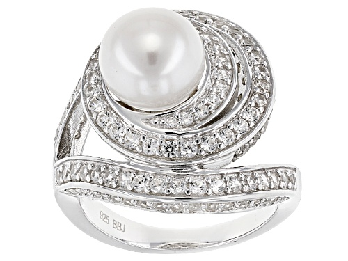 Photo of 8.5-9mm White Cultured Freshwater Pearl & 1.98ctw White Zircon Rhodium Over Sterling Silver Ring - Size 12