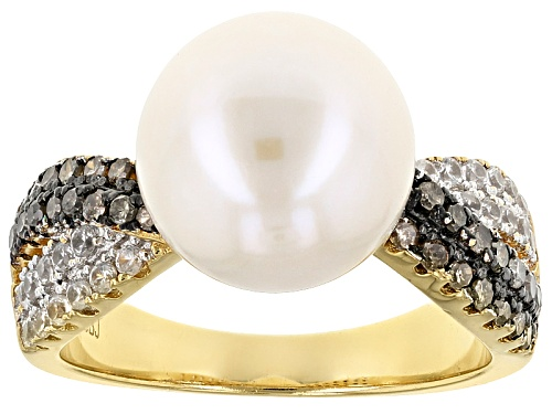Photo of 11mm Cultured Freshwater Pearl, Champagne Diamond & White Zircon 18k Yellow Gold Over Silver Ring - Size 12