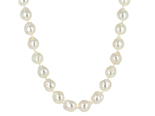 Photo of 8-9mm White Cultured Japanese Akoya Pearl Rhodium Over Silver 20 Inch Strand Necklace - Size 20