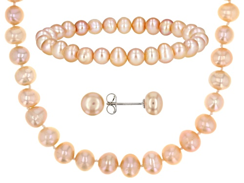Photo of 7-7.5mm Peach Cultured Freshwater Pearl Rhodium Over Silver Necklace, Stretch Bracelet, Earrings Set