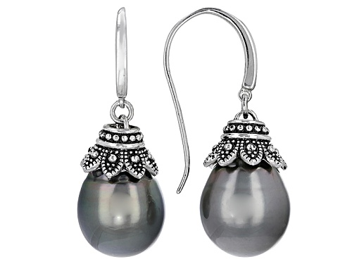 Photo of 11-12mm Cultured Tahitian Pearl Rhodium Over Sterling Silver Dangle Earrings