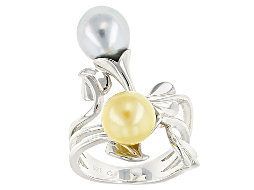 Photo of 8-9mm Golden Cultured South Sea & Tahitian Pearl Rhodium Over Sterling Silver Ring - Size 9