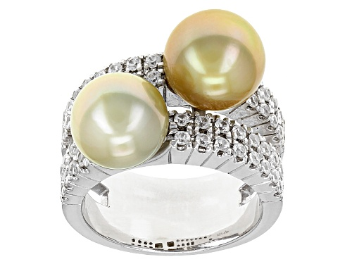 Photo of 8-9mm Golden Cultured South Sea Pearl & White Zircon Rhodium Over Sterling Silver Ring - Size 9