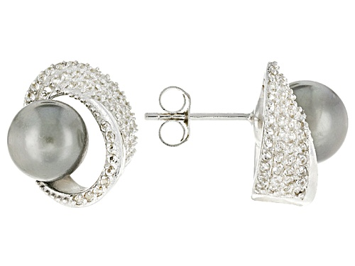 Photo of 8mm Cultured Tahitian Pearl With White Topaz Rhodium Over Sterling Silver Earrings