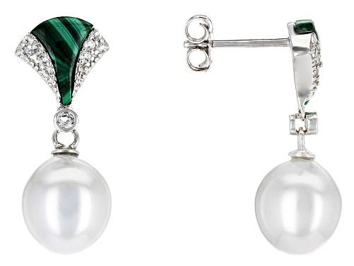 Photo of 9-10mm Silver Cultured Tahitian Pearl, Malachite & White Topaz Rhodium Over Sterling Silver Earrings