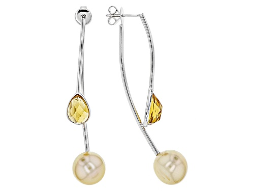 11-12mm Golden Cultured South Sea Pearl & 4.20ctw Citrine Rhodium Over Sterling Silver Earrings