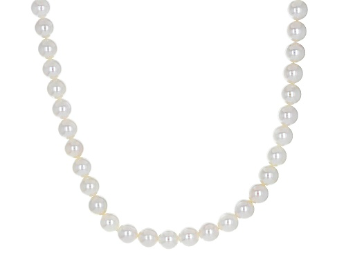 Photo of 6-7mm White Cultured Japanese Akoya Pearl Rhodium Over Sterling Silver 17 Inch Strand Necklace - Size 17