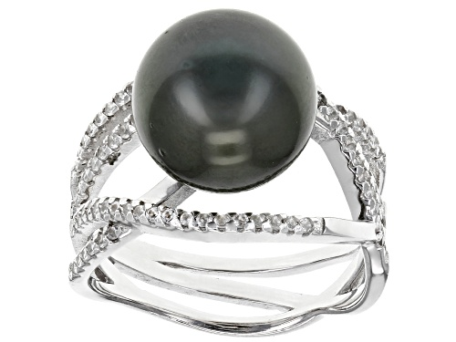 11mm Cultured Tahitian Pearl With .78ctw White Topaz Rhodium Over Sterling Silver Ring - Size 12