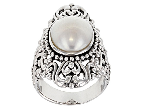 Photo of 14x10mm White Cultured Freshwater Pearl Rhodium Over Sterling Silver Ring - Size 5