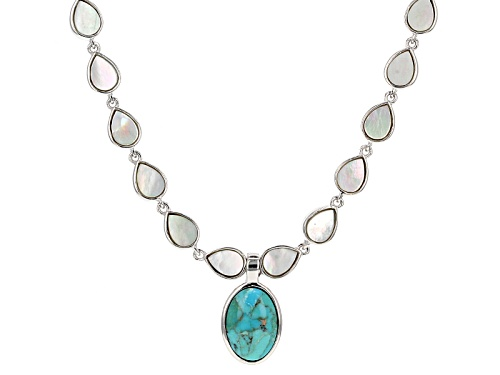 Photo of 14x10mm Turquoise & White Mother-Of-Pearl, Rhodium Over Silver 18 Inch Necklace With 2 Inch Extender - Size 18