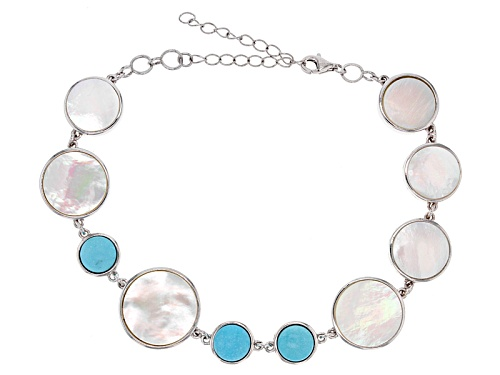 Photo of 11-15mm Mother-Of-Pearl & 8mm Turquoise Rhodium Over Silver 8 Inch Bracelet With 2 Inch Extender - Size 8
