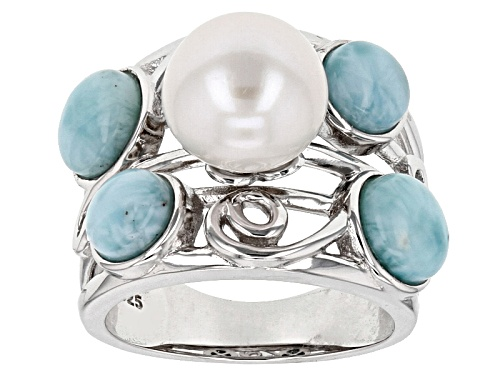 Photo of 9.5-10mm White Cultured Freshwater Pearl & 2.25ctw Larimar Rhodium Over Sterling Silver Ring - Size 4