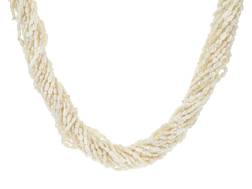 Photo of 2-9mm White Cultured Freshwater Pearl Rhodium Over Silver 19.5 Inch Multi Strand Toggle Necklace - Size 19.5
