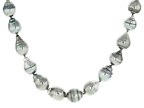 Photo of 7-10mm Silver Cultured Tahitian Pearl Rhodium Over Sterling Silver 16 Inch Strand Necklace - Size 16