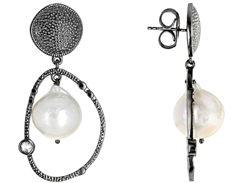 Photo of 13-16mm White Cultured Freshwater Pearl & .30ctw Topaz Black & White Rhodium Over Silver Earrings