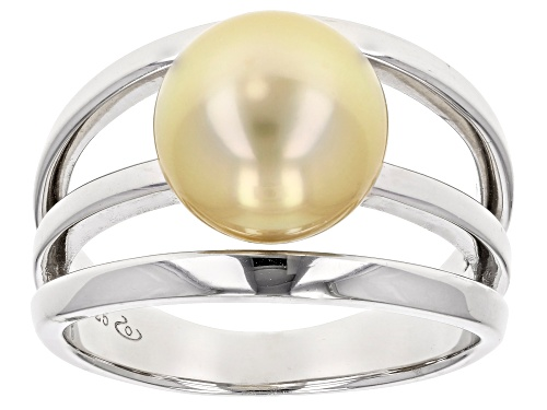 Photo of 10mm Golden Cultured Burmese South Sea Pearl Rhodium Over Sterling Silver Solitaire Ring - Size 7