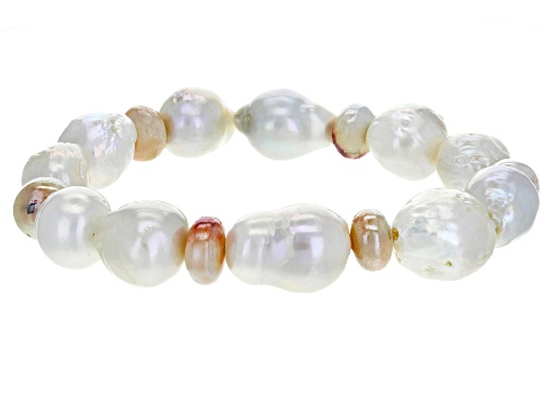 Photo of 11-13mm White Cultured Freshwater Pearl And Prehnite 7.5 Inch Strech Bracelet - Size 7.5