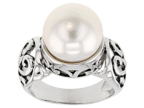 Photo of 10.5-11mm White Cultured Freshwater Pearl, Rhodium Over Sterling Silver Ring - Size 11