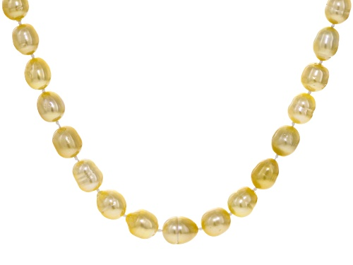 Photo of 9MM GOLDEN CULTURED SOUTH SEA PEARL 18K YELLOW GOLD OVER SILVER 18 INCH NECKLACE - Size 18