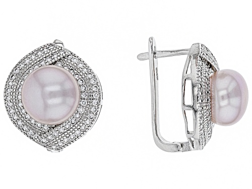 Photo of 10-11mm Pink Cultured Kasumiga Pearl & Bella Luce(TM) Diamond Simulant Rhodium Over Silver Earrings