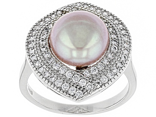 Photo of 10-11mm Pink Cultured Kasumiga Pearl & Bella Luce(TM) Diamond Simulant Rhodium Over Silver Ring - Size 11