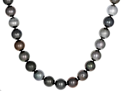 Photo of 11mm Multi-Color Cultured Tahitian Pearl Rhodium Over Sterling Silver 18 Inch Strand Necklace - Size 18
