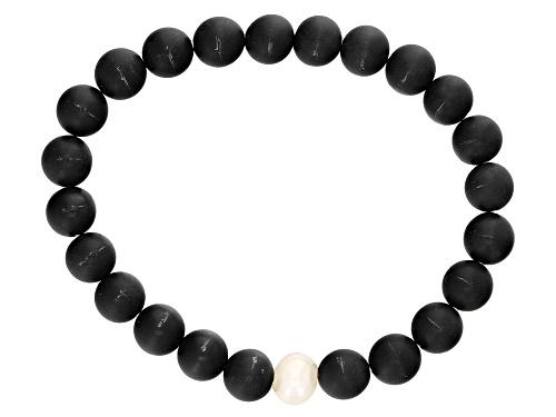 Photo of 8-9mm White Cultured Freshwater Pearl & Black Onyx Stretch Bracelet