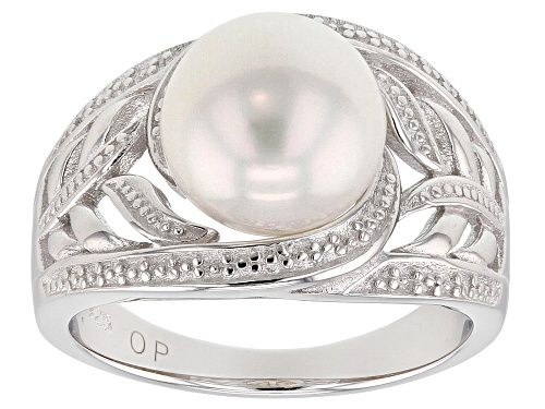 Photo of 9-10mm White Cultured Freshwater Pearl, Rhodium Over Sterling Silver Ring - Size 10