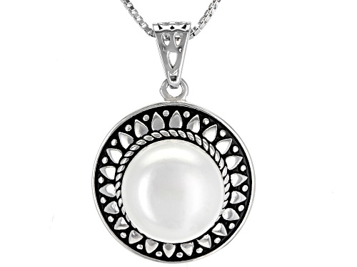 Photo of 11mm White Cultured Freshwater Pearl, Rhodium Over Sterling Silver Pendant With Chain