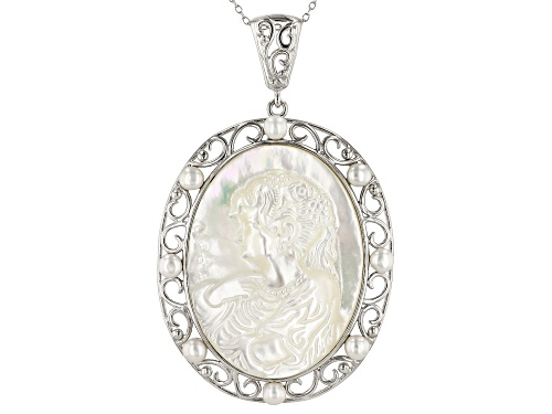 Photo of White Mother-Of-Pearl & Cultured Freshwater Pearl, Rhodium Over Silver Cameo Pendant With Chain