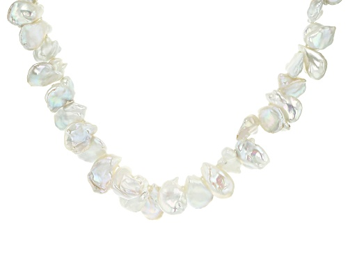 Photo of 14mm Cultured Keshi Freshwater Pearl Rhodium Over Silver 18 Inch Necklace With 2 inch Extender - Size 18