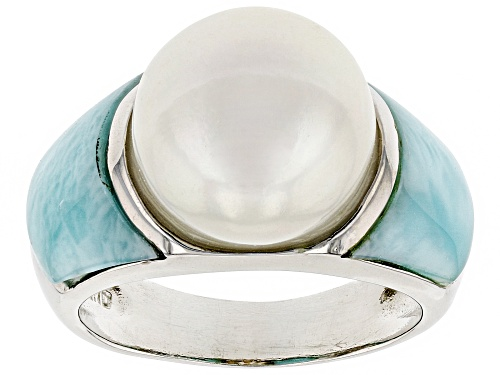 Photo of 12mm White Cultured Freshwater Pearl & Larimar Rhodium Over Sterling Silver Ring - Size 5