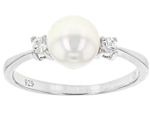 Photo of 7-8mm White Cultured Japanese Akoya Pearl & White Zircon Rhodium Over Sterling Silver Ring - Size 7