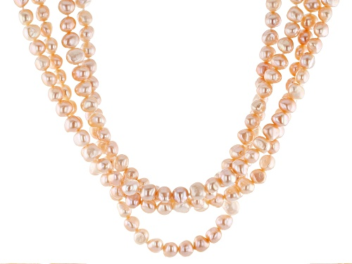Photo of 7-7.5mm Peach Cultured Freshwater Pearl Rhodium Over Sterling Silver 18 Inch Multi-Strand Necklace - Size 18