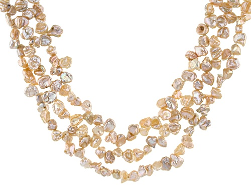 Photo of 6-8mm Peach Cultured Keshi Freshwater Pearl Rhodium Over Sterling Silver 18 Inch Necklace - Size 18
