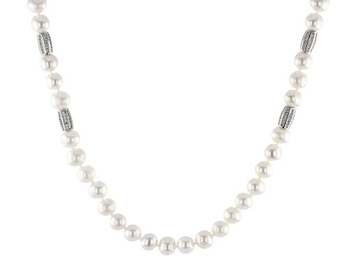 Photo of 8-9mm Cultured Freshwater Pearl & Bella Luce(R) Diamond Simulant Rhodium Over Silver Necklace - Size 32