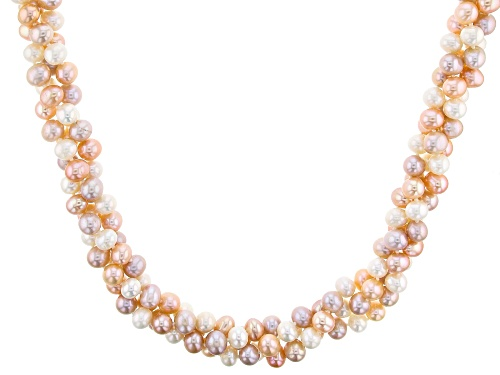 Photo of 7-7.5mm Multi-Color Cultured Freshwater Pearl & Mother-Of-Pearl magnetic Clasp 22 Inch Necklace - Size 22
