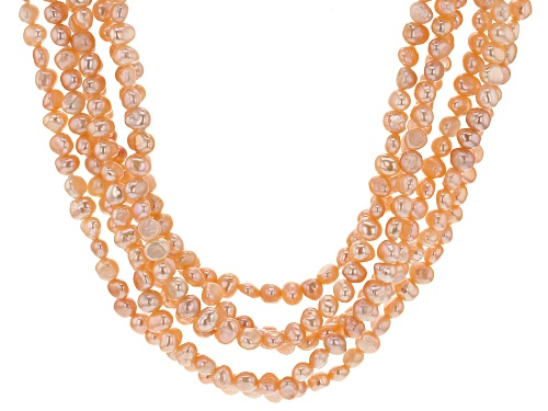Photo of 4-5mm Peach Cultured Freshwater Pearl, Rhodium Over Silver 22 Inch Multi-Strand Necklace - Size 22