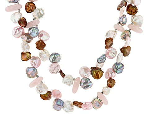 Photo of 6-13mm Cultured Keshi Freshwater Pearl & Rose Quartz Rhodium Over Silver 18 Inch Necklace - Size 18