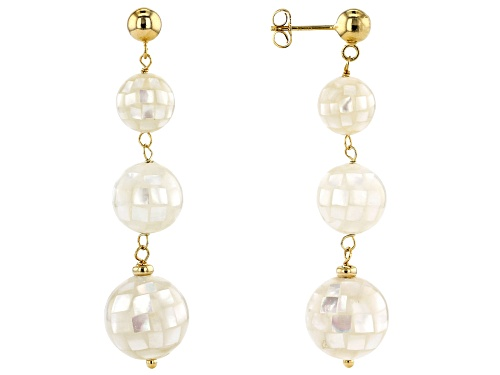 Photo of 10-14mm White Mother-Of-Pearl, 18k Yellow Gold Over Sterling Silver ball Earrings