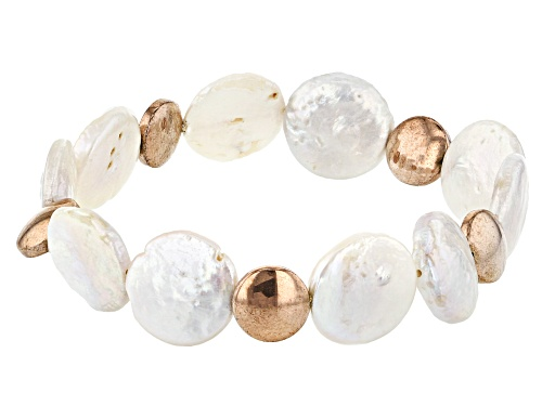 Photo of 14-15mm White Cultured Freshwater Pearl & Rose Hematine Stretch Bracelet