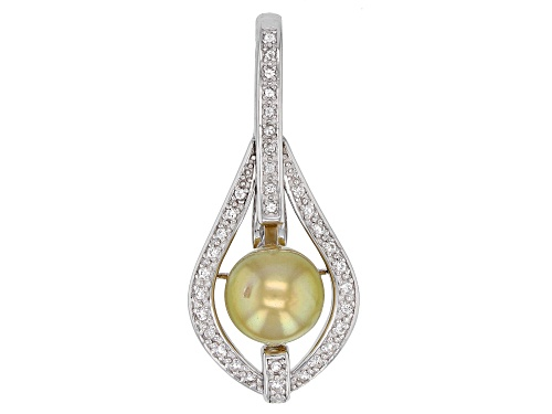 Photo of 9mm Golden Cultured South Sea Pearl & White Topaz Rhodium Over Sterling Silver Enhancer