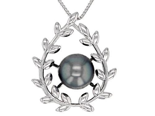 Photo of 9mm Cultured Tahitian Pearl Rhodium Over Sterling Silver Pendant With Chain
