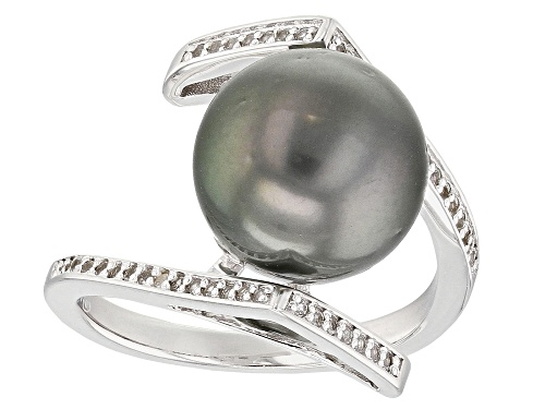 Photo of 11mm Cultured Tahitian Pearl & White Topaz Rhodium Over Sterling Silver Ring - Size 11