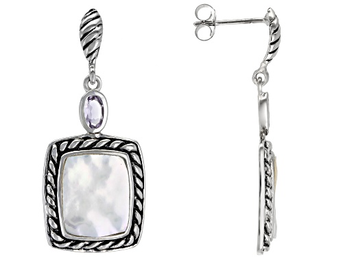 Photo of 10-12mm White Cultured Freshwater Pearl & Amethyst Rhodium Over Sterling Silver Earrings