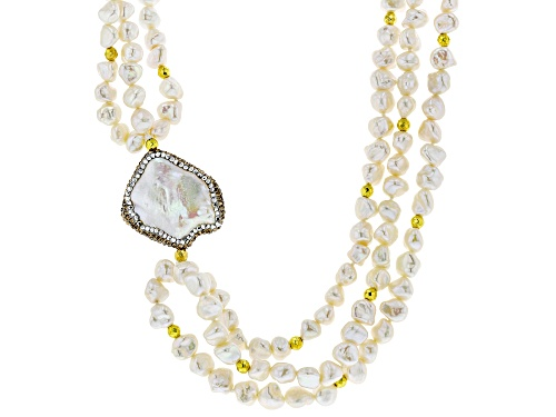 Photo of 6-30mm Cultured Freshwater Pearl & Gold Hematine 18k Yellow Gold Over Silver 18 Inch Necklace - Size 18