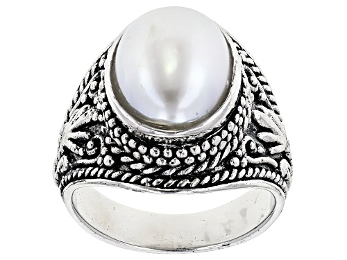 Photo of 9x12mm White Cultured Freshwater Pearl, Rhodium Over Sterling Silver Ring - Size 4
