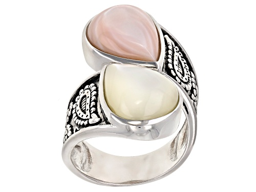Photo of 11x15mm White and Pink Mother-of-Pearl Rhodium Over Sterling Silver Bypass Ring - Size 8