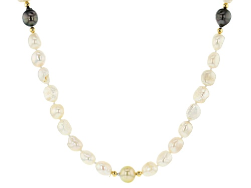 Photo of 9-10.5mm Cultured Freshwater, Tahitian & South Sea Pearl 18k Yellow Gold Over Silver Bead Necklace - Size 32
