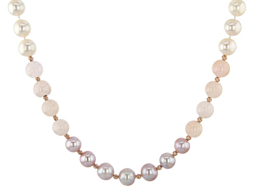 Photo of 9.5-10.5mm White Cultured Freshwater Pearl & Morganite 18k Rose Gold Over Silver 18 Inch Necklace - Size 18
